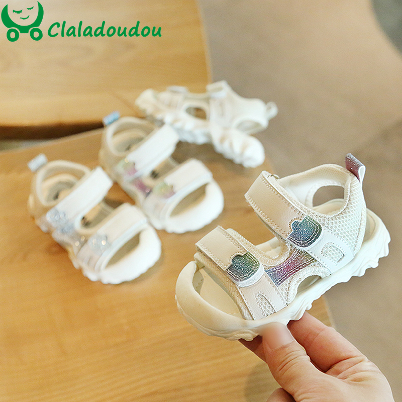 12-15.5cm Gold Silver Girls Sandals 0-3years Baby Girls Boys Mesh Summer First Walkers White Double Sticker Toddler Beach Sandal
