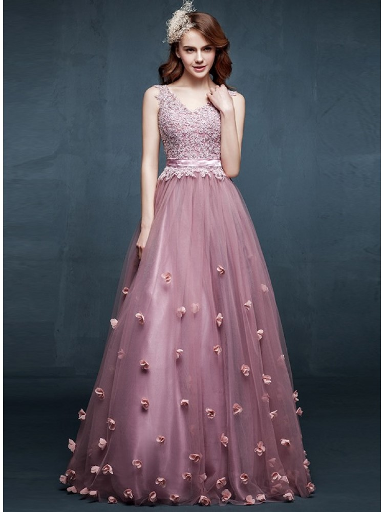 Fancy A-Line V-Neck Appliques Flowers Floor-Length   Prom     Dress   Vestidos Largos Elegantes Purple Tiered Semi Formal   Dress