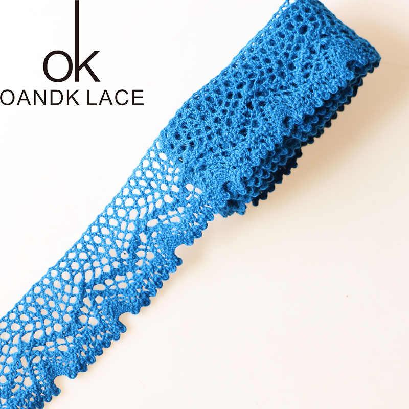 ใหม่ 5 หลาสีฟ้าผ้าฝ้ายริบบิ้นลูกไม้ Handmade Patchwork หัตถกรรมสำหรับ DIY อุปกรณ์เครื่องแต่งกาย