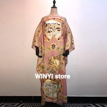 Fashion Runway Long Sleeve Maxi Dresses Women's Elegant Party Rose Floral Leopard Print Long Dress Holiday Dress(China)
