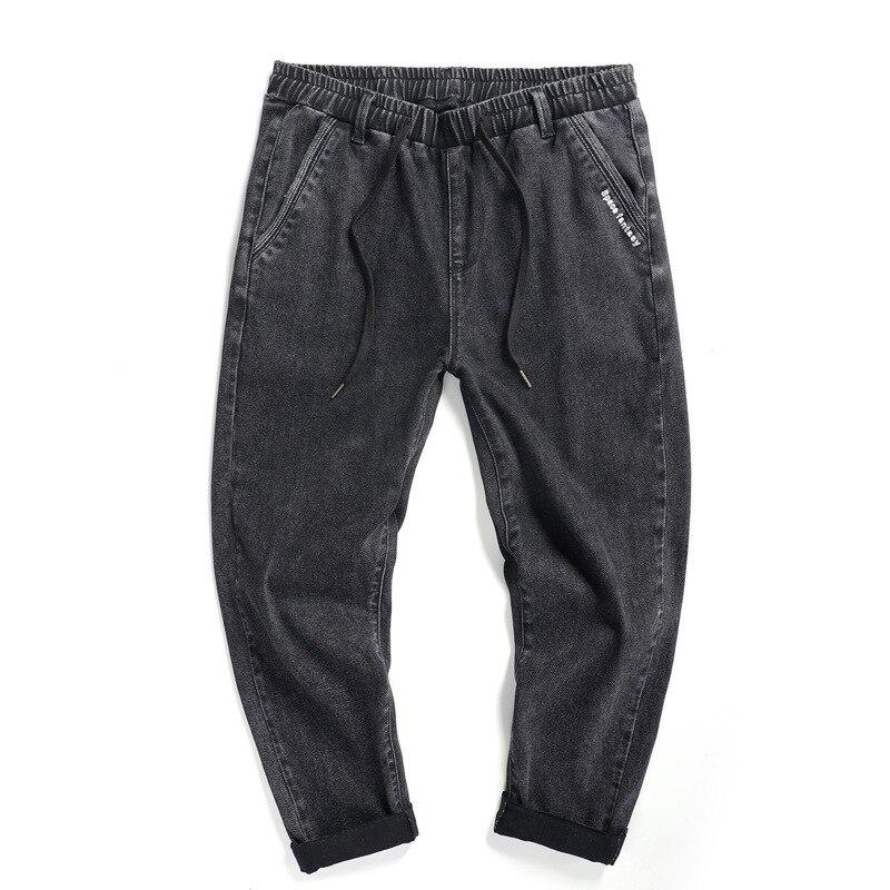 Fashion Scratch Jeans Men Jeans Casual Loose Ankle Length Jeans Student Men Large Size M-6XL 7XL 8XL