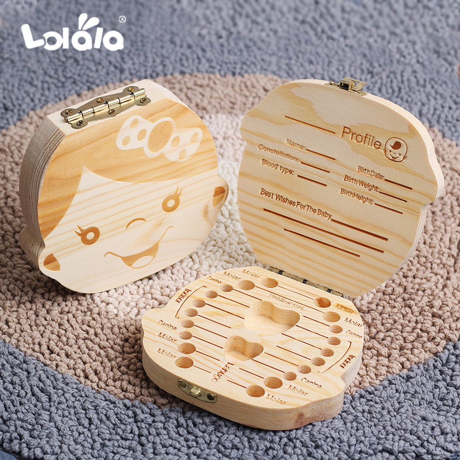 Baby Milk Teeth Box English Baby Wood Tooth Box Baby Tooth Organizer Kids Deciduous Storage Collect Wooden Box