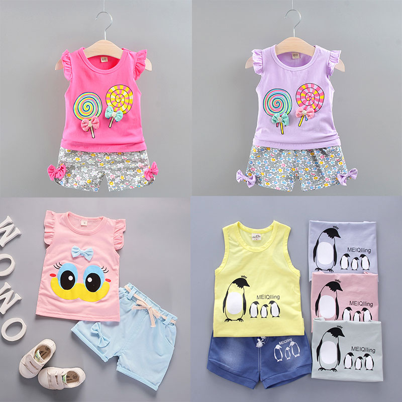 Summer 1-5Y Baby Girls Clothes 2pcs Kids Sets For Girls Outfits Lollipop T-shirt Tops+Short Pants Clothes Set Toddler Clothing