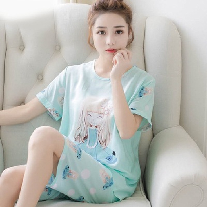 New Products Short Sleeve Pajamas Women's Summer Korean Style Thin Lily Girl Printed Women's Tracksuit Piece-Outer Wear