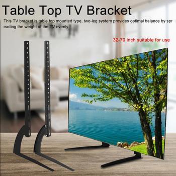 Soporte de Tv de Metal negro, soporte de acero para pantalla LCD LED plana, soporte de montaje de mesa de escritorio para TV, soporte de pared de aluminio