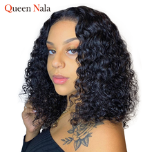 QUEEN NALA HAIR Curly Bob Lace Front Wigs For Women Kinky Curly Lace Front Wig 13*4 Brazilian Deep Wave Human Hair Wigs(China)