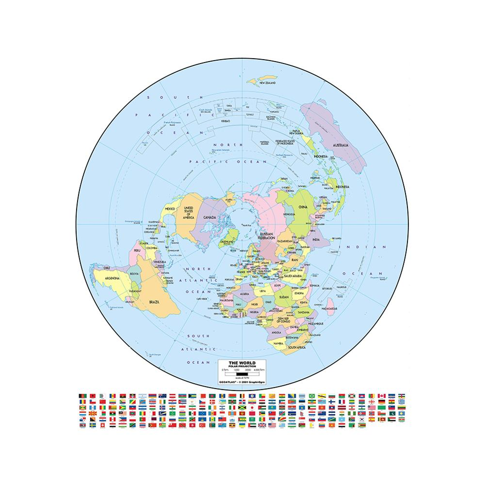 Conventional World Map With Flag Round 90x90cm Non-woven Waterproof No-fading Map For Cultural Education
