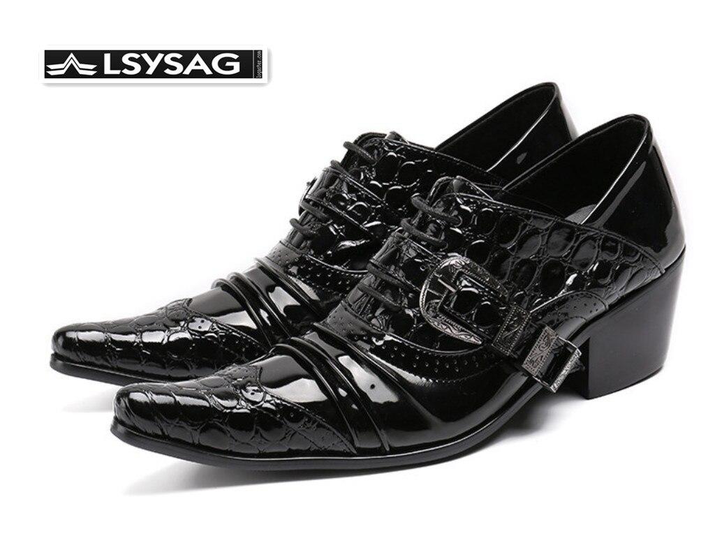 Британский стиль, визуально увеличивающие рост; Мужские туфли оксфорды черный Лакированная кожа острый носок модельные туфли в деловом сти
