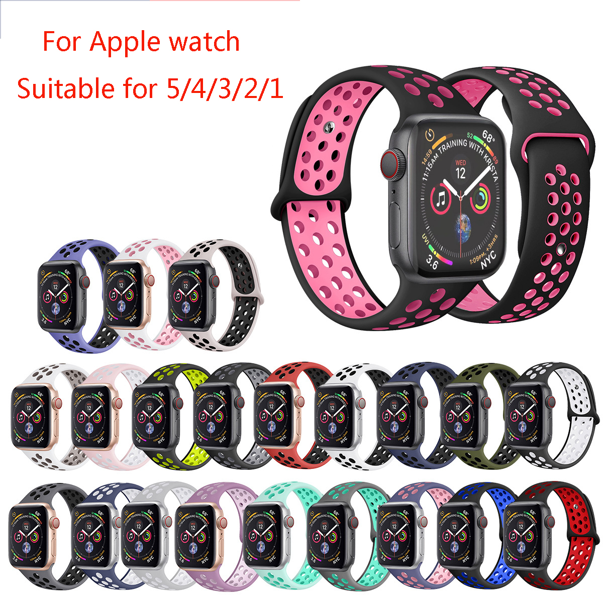 Watchband For Nike Sport Apple Watch Series 4/5/3/2/1 42mm 38mm Rubber Wrist Bracelet Adapter Iwatch 40mm 44mm Apple Watch Band