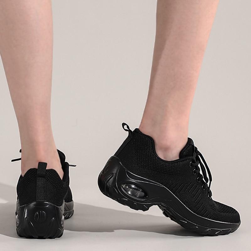 Chaussures vulcanisées plates tricotées pour femmes, baskets respirantes en maille, antidérapantes, chaussures de marche confortables