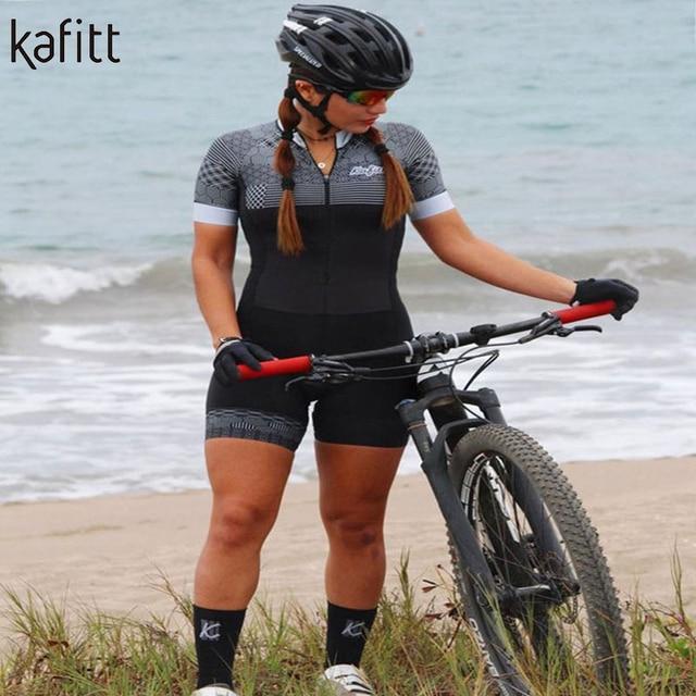 Kafitt pro equipe triathlon conjunto camisa de ciclismo feminino uma peça macacão manga curta macaquinho conjunto feminino gel almofada 6