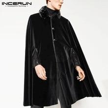 Winter Men Cloak Trench Vintage Button Fleece Velour Warm Coats Cape Streetwear Chic Poncho 2021 Solid Men Jackets S-5XL INCERUN