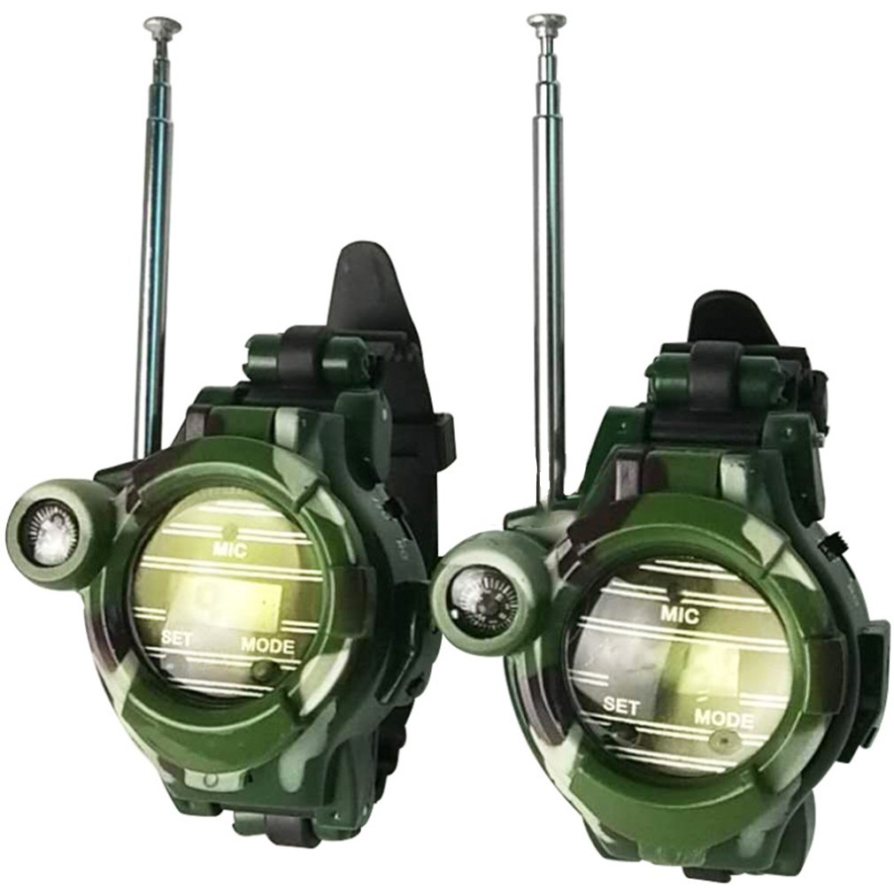 2pcs Walkie Talkies Watches Toys For Kids 7 In 1 Camouflage 2 Way Radios Mini Walky Talky Interphone Clock Children Toy