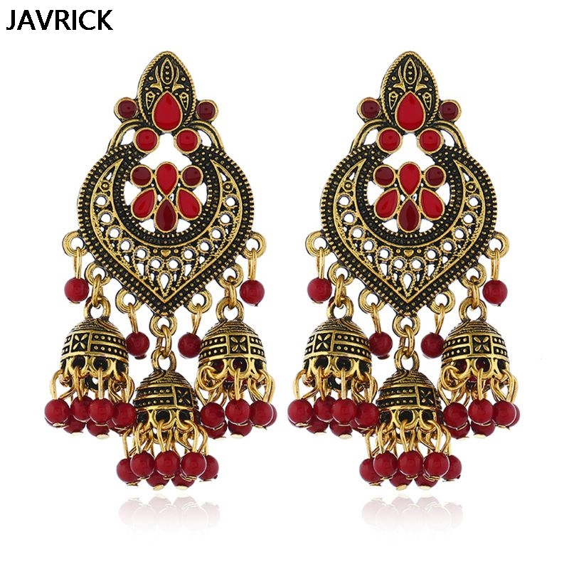 Retro Indischen Bollywood Kundan Jhumka Jhumki Drop Ohrringe Gypsy Mode Schmuck