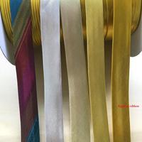 Ширина 15 мм, сложенная металлическая Золотая Серебряная сатиновая уклонистая лента, для фиксации, пошив одежды «сделай сам» и обрезки