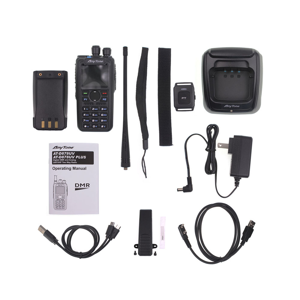 Anytone AT-D878UV Plus DMR Radio VHF 136-174MHz UHF 400-470MHz GPS APRS Bluetooth Walkie Talkie Ham Radio Station With a Cable 6