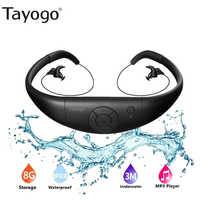 Tayogo 8G IPX8 Impermeabile MP3 Più Nuovo di Nuoto Diving Lettore Musicale Built-in Lettore Stereo Archetto Da Collo di Sport Curvetta Audio auricolare