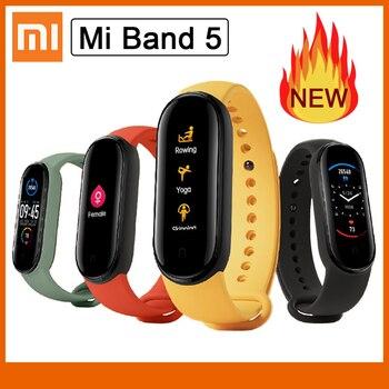 2020 Intelligent Bracelet Color AMOLED Screen Heart Rate Fitness Tracker Bluetooth 5.0 Waterproof MI Band 5 Bracelet
