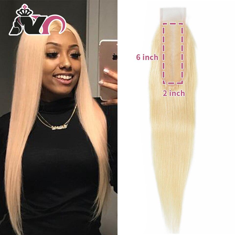 NY 613 Remy Hair Closure Straight Brazilian Blonde 613 Hair Closure 2*6 Lace Closure With Baby Hair For Black Women 10-16 Inch