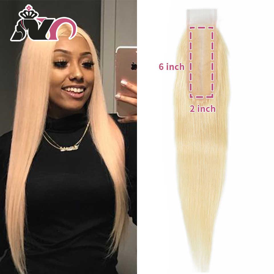 Ny 613 Remy Haar Sluiting Straight Braziliaanse Blonde 613 Haar Sluiting 2*6 Vetersluiting Met Baby Haar Voor zwarte Vrouwen 10-16 Inch