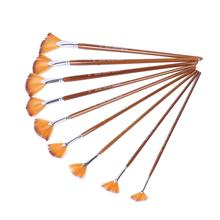 9 Watercolor Brush Sets Nylon Hair Painting Pens Various Styles Short Rod Fan Painting Pen Art Supplies