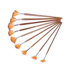 9Pcs/Set Paint Brushes Watercolor Gouache Paint Fan Design Round  Nylon Hair Brown Painting Brush Set  Professional Art Supplies