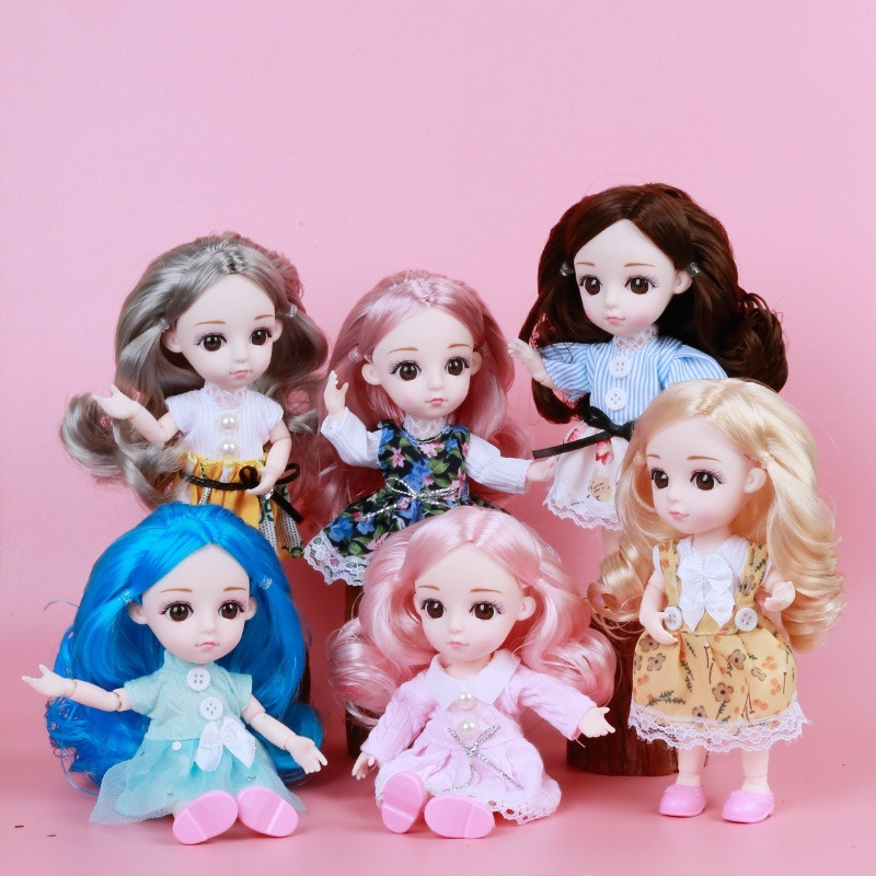 Moveable Jointed Mini 13 Joints 1//12 16cm BJD Doll 3D Eyes Dress Up Toy DIY