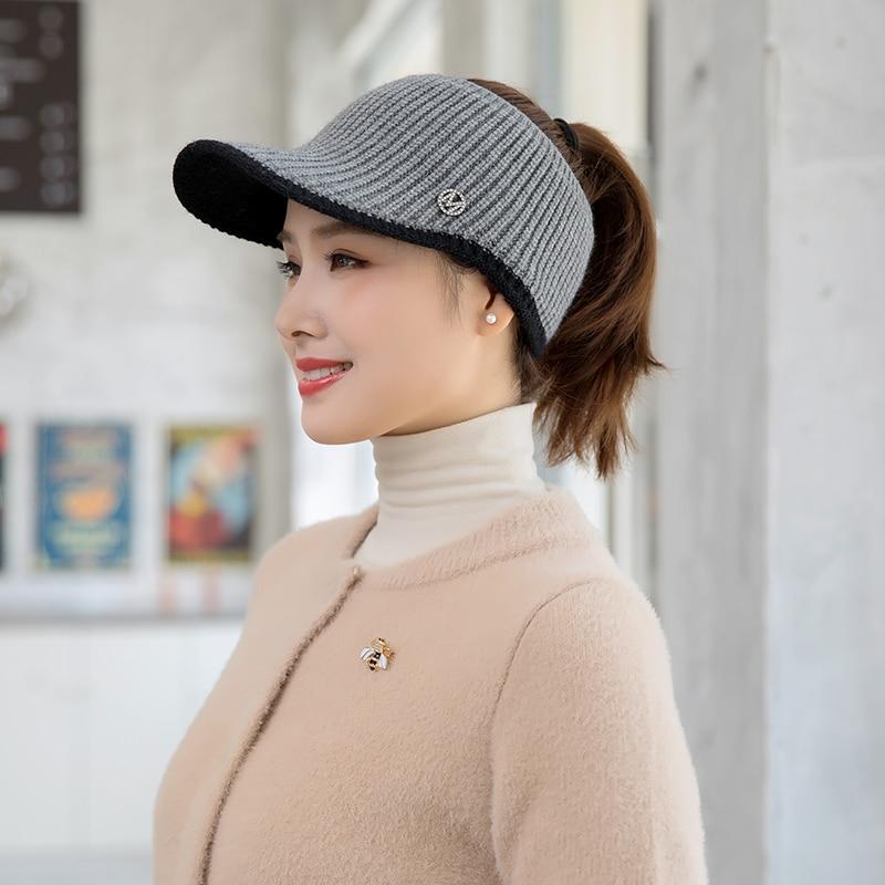 Women's Autumn Winter Visor Hats Empty Top Knitted Fashion Visor Caps Outdoor Sports Female Winter Hats New
