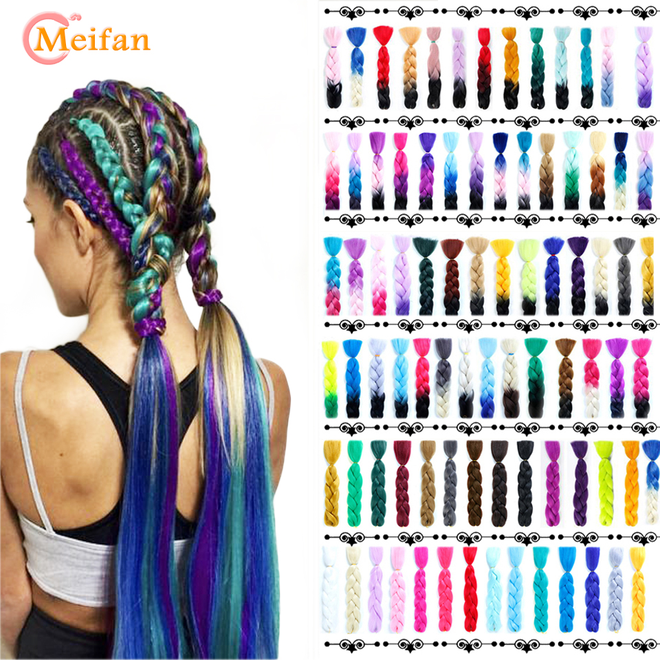 MEIFAN Long Jumbo Ombre Fake Hair For Braiding Synthetic Crochet Braids Hair Pink Purple Gray Hair Extension Oversized Pigtails