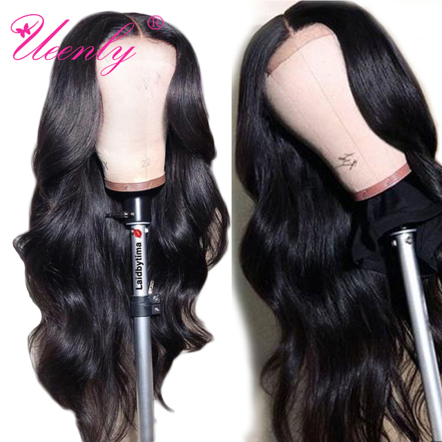 $ US $53.14 4x4 Closure Wig Brazilian Body Wave Lace Closure Human Hair Wigs Pre Plucked With Baby Hair UEENLY Remy Hair Lace Front Wig