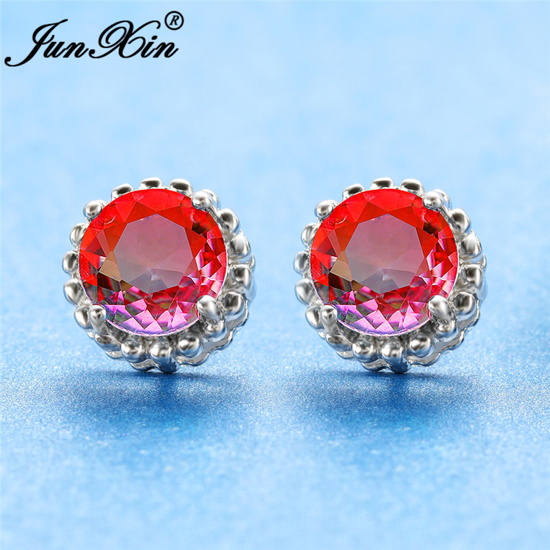 Boho Mystic Rainbow Fire Crystal Round Earrings White Gold Rose Gold Colorful Zircon Ear Stud Earring Wedding For Women Jewelry