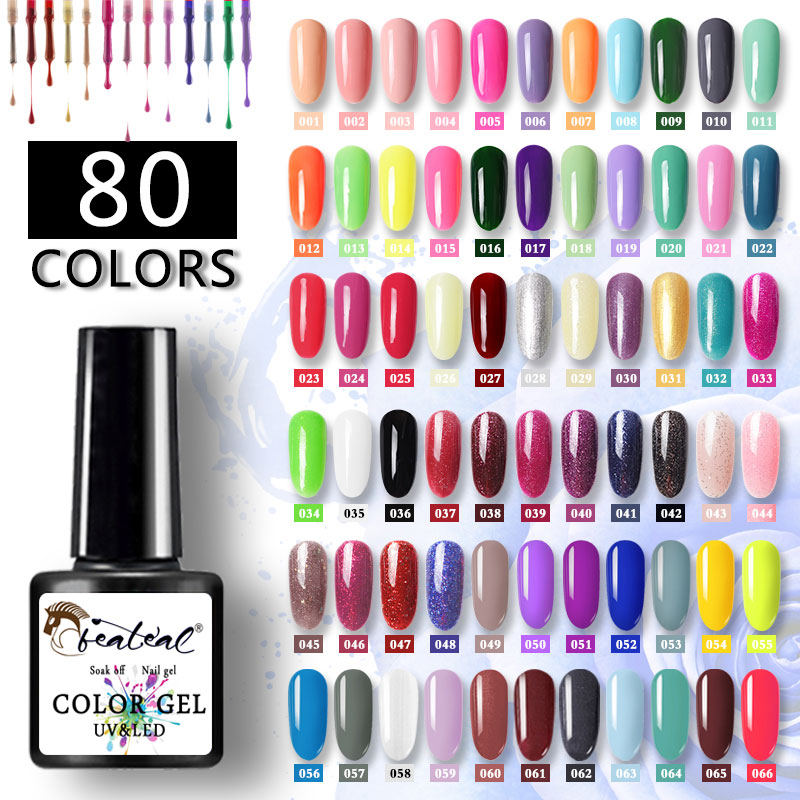 Beateal 7.5ml Gel Nail Polish All For Manicure Set Semi Permanent Vernis UV Top Coat Poly Gel Varnish Hybrid Gel Nail Polish
