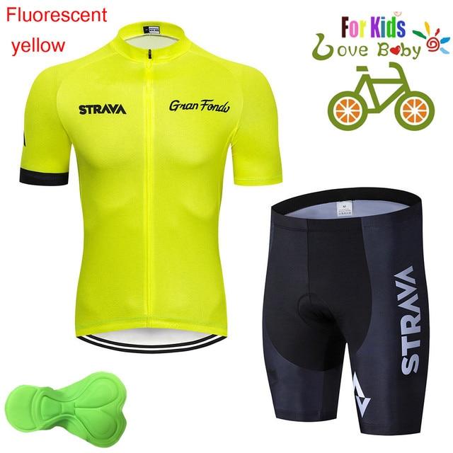 2020 strava criança bicicleta meninos roupas conjunto camisa de ciclismo respirável secagem rápida crianças adorável ciclismo roupas terno 3