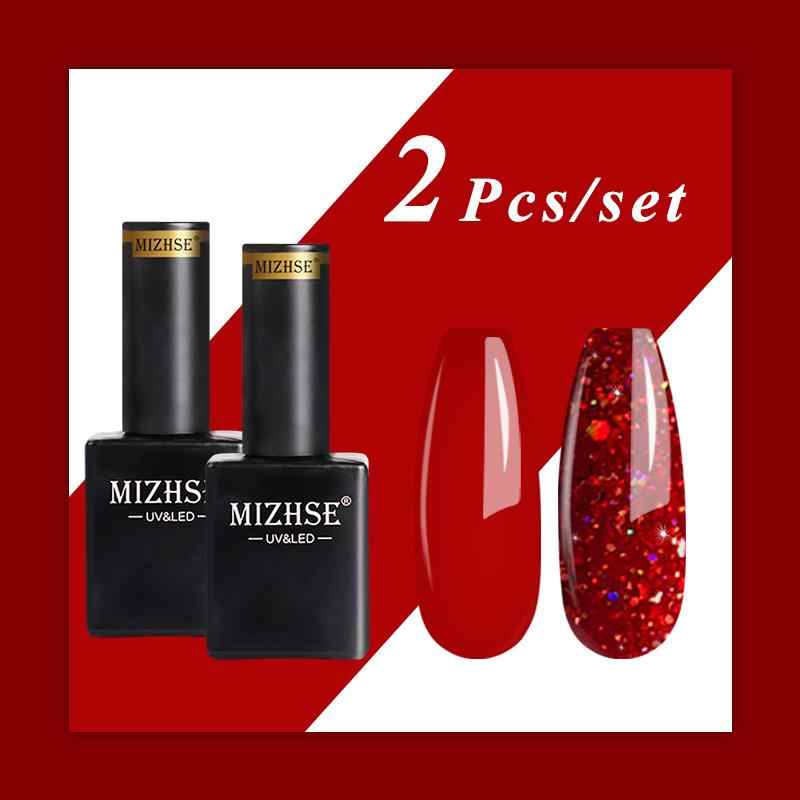 Mizhse 15 Ml 2 Pcs/set Murni Glitter Kuku Gel Polandia Set Kaca Botol Merah Hybrid Seri Warna Payet Rendam Off uv Gel Varnish