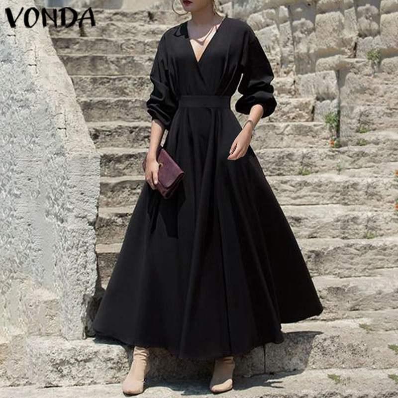 Black Party Long Maxi Dress Summer Sundress VONDA 2020 Women V Neck Long Lantern Sleeve Bohemian Dress Plus Size Casual Robe