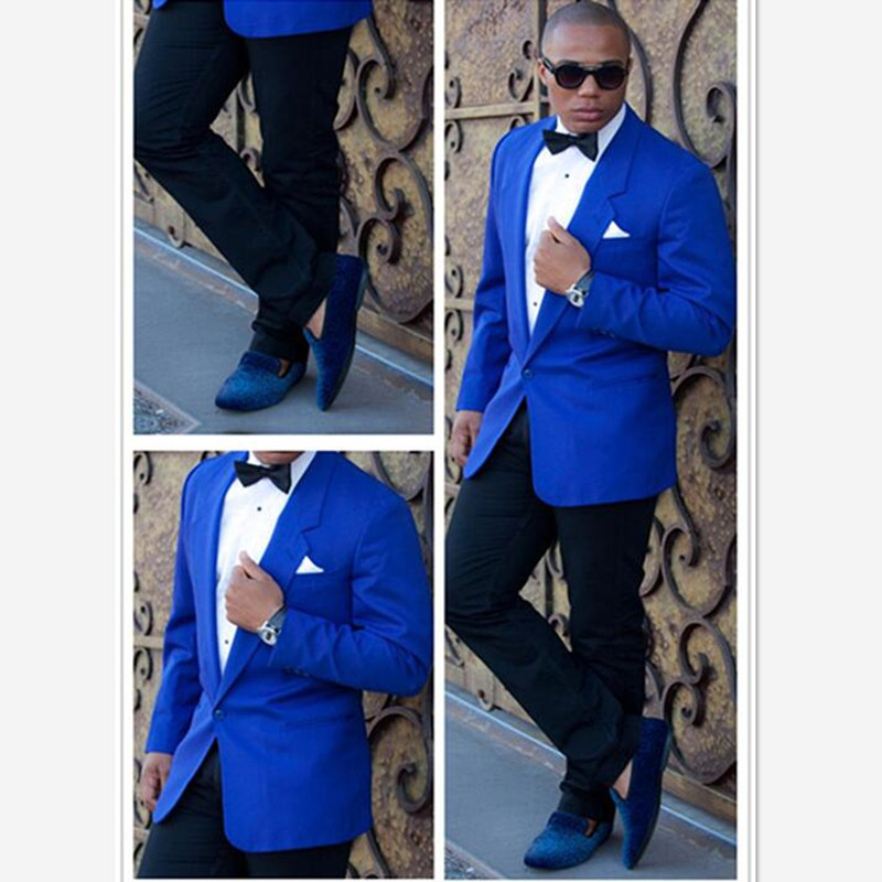 Costume Homme Mens Suits (jacket+pants) Blue Blazer Black Pants 2 Pieces Wedding Prom Slim Fit Groom Tuxedos Terno Masculino
