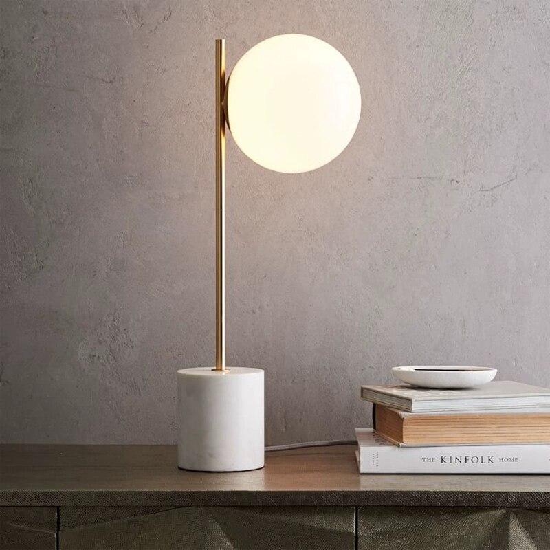 Verre marbre cuivre luxe nordique moderne Led Restaurant Bar chambre hôtel côté Table de chevet lampe déco Maison lampe de chevet
