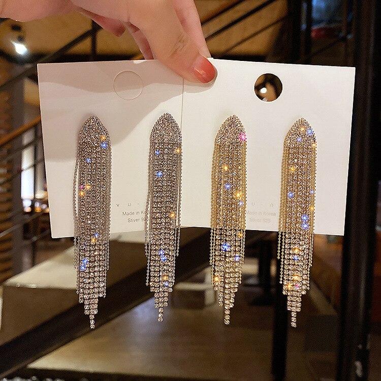 New Classic Crystal Earrings Ladies Exaggerated Long Earrings Tassels Rhinestone Earrings Fashion Ladies Korean Earrings Jewelry