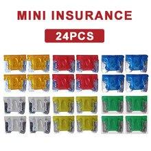 Mini fusível automotivo universal, 24 peças de mini lâminas para carro, caminhão, motocicleta, 5a, 10a, 15a, 20a, 25a, 30a, tamanhos mistos