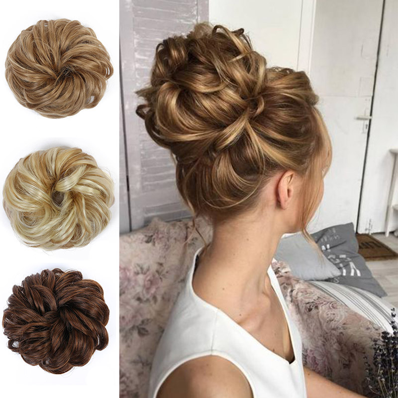 MANWEI Messy Chignons Messy Bun Ponytails Resistance Scrunchie Wrap Hair Rope Rubber Band Hair Extensions For Women  Black Brown