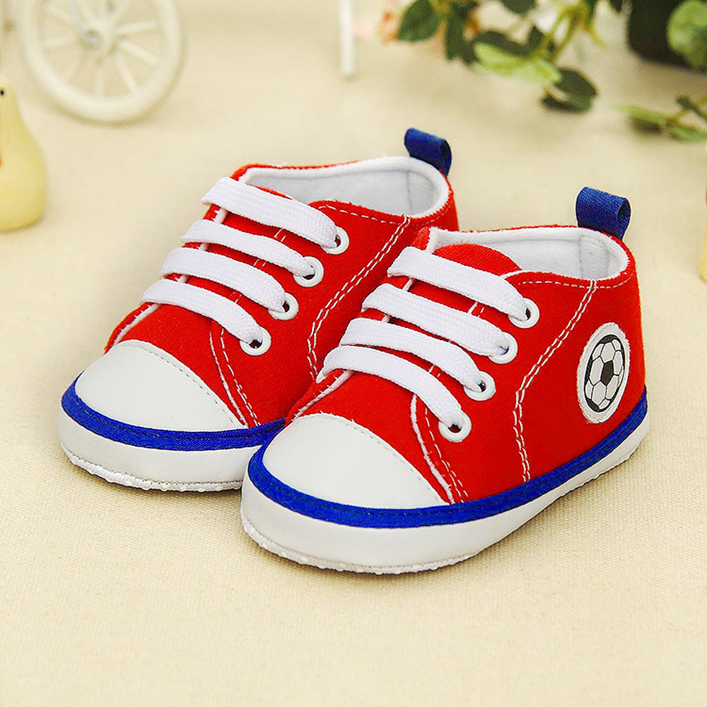 Huang Neeky #P501 2019 Newborn Infant Baby Football Print Sneaker Anti-slip Soft Sole Toddler Shoes Hot Canvas Hot Drop Shipping