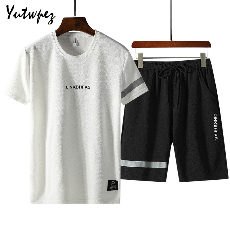 Mens Sets Summer Casual Tracksuits Men 2 Piece Set T-Shirt+Shorts Fashion Sportswear Jogging Track Suit M-4XL Male Clothing 2020
