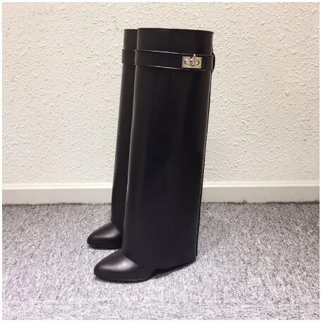 Wedge Shark Lock Women Knee High Boots Slip-on Fold Over Lady Motorcycle Boots Height Increasing Woman Original Leather Boots