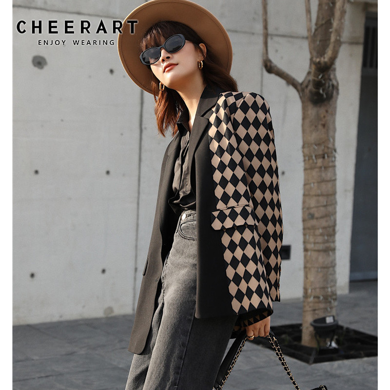 CHEERART Plaid Women Blazers And Jackets Patchwork Ladies Coats Designer High Fashion Blazer Long Sleeve Suit Jacket Clothes