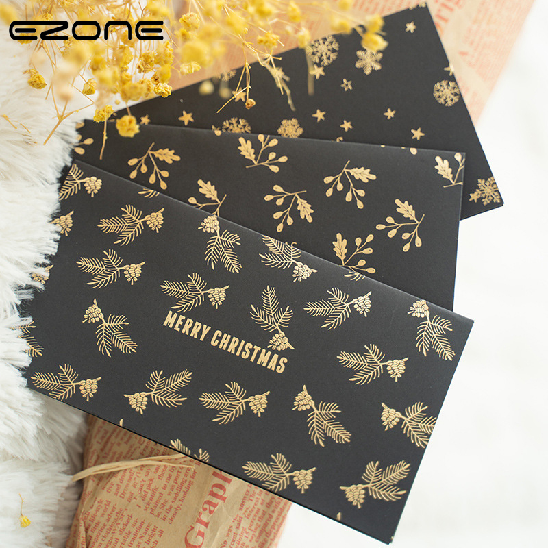 EZONE Christmas Greeting Card+Envelope Card Black Gift Envelope Gift Envelope Printed Christmas Tree/Snow/Ginkgo Leaf Pattern