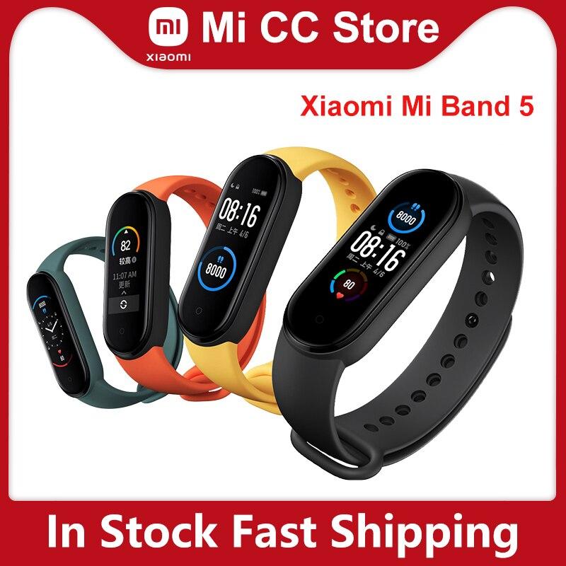 Xiaomi Mi Band 5 Bracelet Heart Rate monitor Fitness Tracker AMOLED Screen Miband 5 Smart band 4 color Straps|Smart Wristbands| - AliExpress