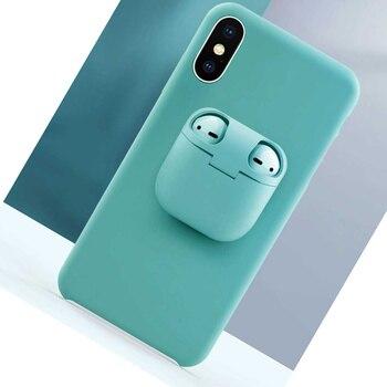 Liquid Silicone Phone Case for IPhones 11 Pro Case Xs Max XR X 6 7 8 Plus Funda 2 In 1 Unqiue AirPods Case Holder Earphone Cover