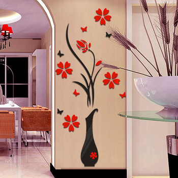 Home Interior DIY Vase Flower Tree Crystal Arcylic 3D Wall Stickers Decal Home Decor #37 1