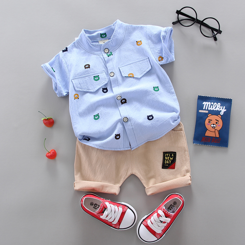 Hot Sale  Boys Clothing Children Summer Boys and girls Clothes Set shit+Pants Kids Girl's Clothing Sets Cotton Sportswear 2