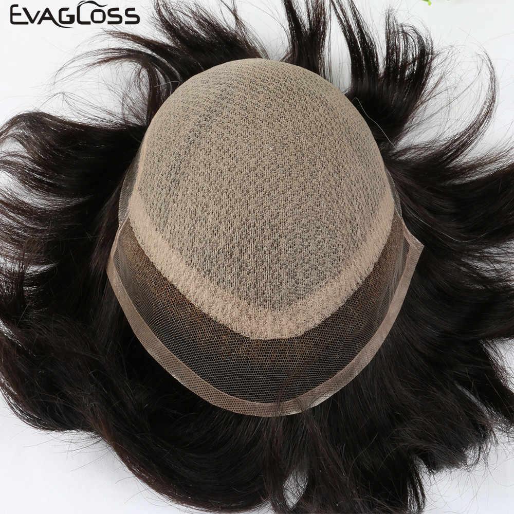 EVAGLOSS Toupet Mens Silk Basis Mit Schweizer Spitze Reine Handgemachte Für Männer Perücken Natürliche Remy Menschenhaar Prothese Für Männliche perücke